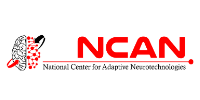 A design element of a brain and NCAN logo in text