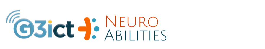 G3ict logo and a textual logo of NeuroAbilities with a design element in orange and blue, both placed side by side.