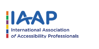 International Association of Accessibility Professionals: IAAP logo in text with a colorful design element on the left.