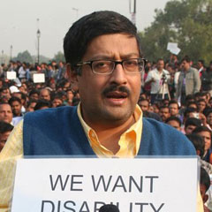 Javed Abidi at outdoor public event